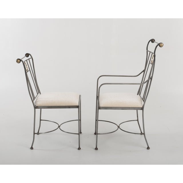 1970s Italian Mid-Century Steel Brass Dining Chairs - Set of 8 For Sale In Philadelphia - Image 6 of 13