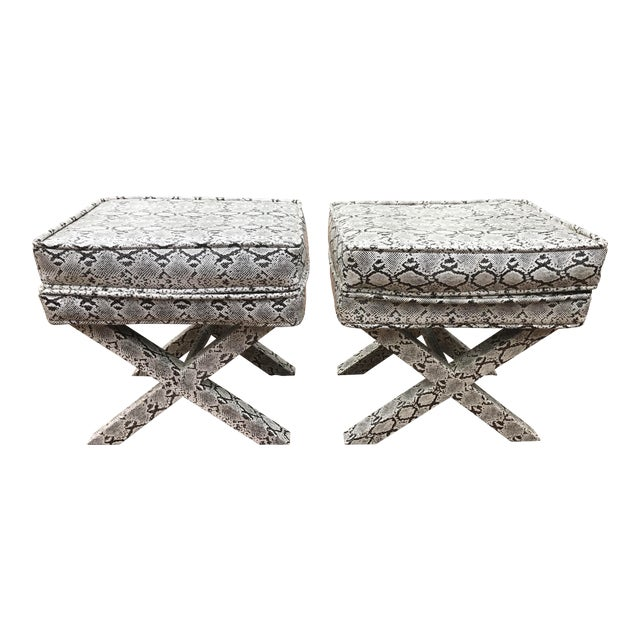 X-Frame Snake Skin Stools - A Pair - Image 1 of 7