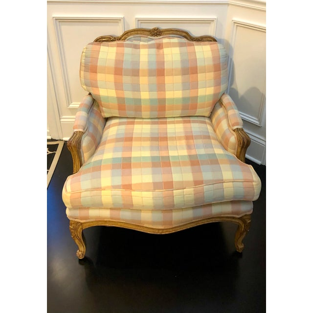 Baker Furniture Company Vintage Upholstered Bergere Style Chair For Sale - Image 4 of 12