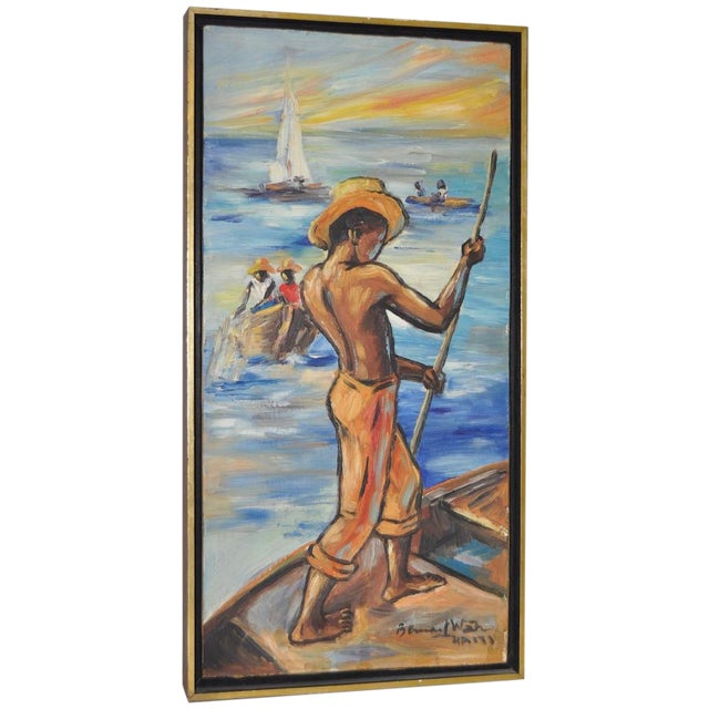 Edouard Wah Haitian Original Oil Painting C.1960s - Image 1 of 7
