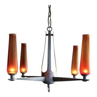 1963 Mid-Century Modern Aluminum and Venini Glass Chandelier For Sale