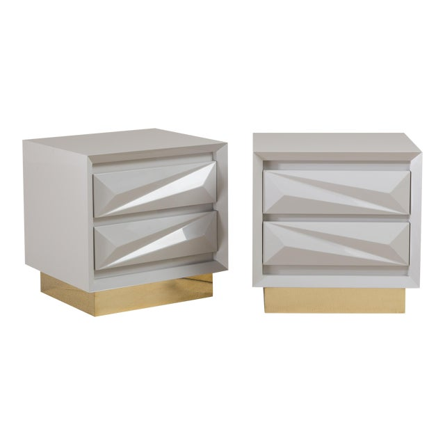 A Customizable Standard Pair of Lacquered Asymmetrical Side Cabinets by Talisman Bespoke For Sale