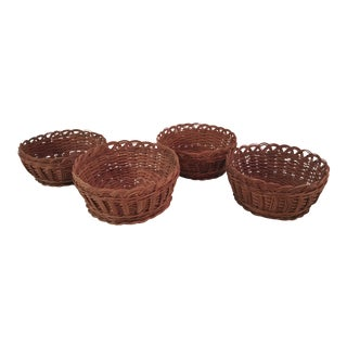 Vintage Natural Woven Decorative Baskets - Set of 4
