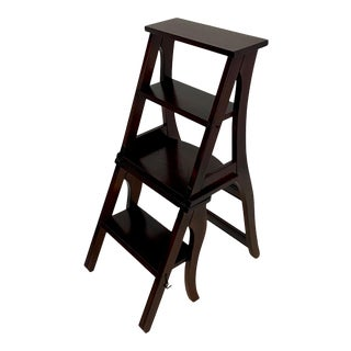 Mahogany Folding Library Steps and Chair For Sale