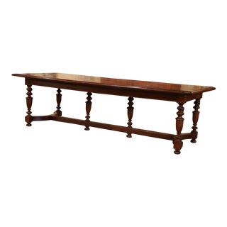 19th Century French Carved Chestnut and Oak Six-Leg Farm Table With Parquet Top For Sale