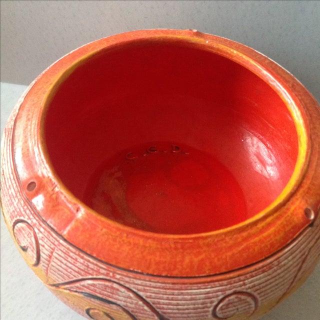 Vintage Orange Ceramic Hanging Planter For Sale - Image 4 of 9