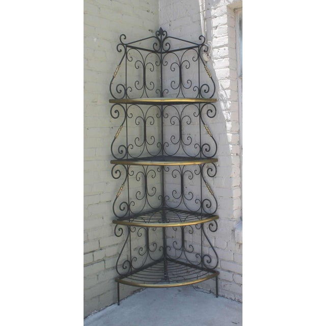 Amazing French Iron and Brass Bakers Corner Shelf For Sale In Los Angeles - Image 6 of 7