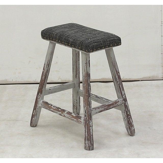 Asian Sarreid Ltd. Vintage Upholstered Stool For Sale - Image 3 of 3