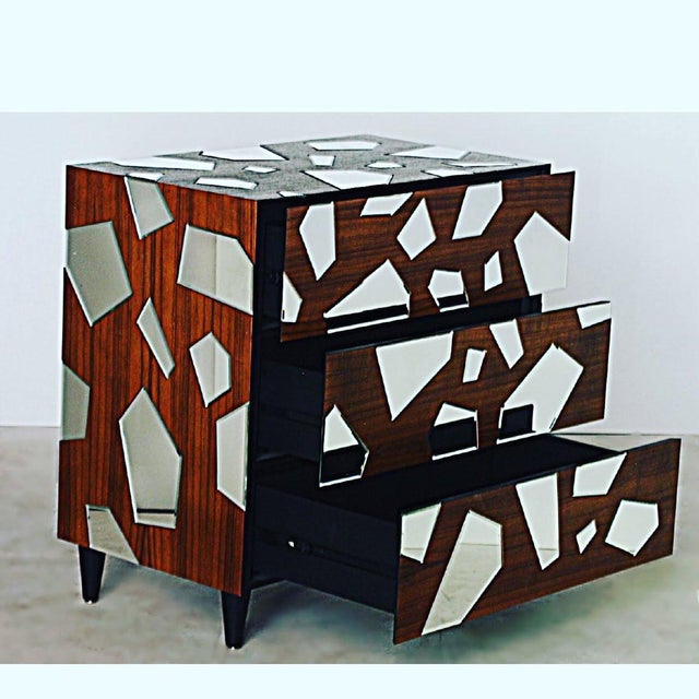 """Pair of mirrored commodes or side tables. 21st century, current production. In excellent condition. 34 1/2"""" by 19 3/4"""", 34..."""