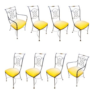 René Prou Dining Set of 2 Armchairs and 6 Chairs Newly Covered For Sale