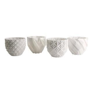 Decorative White Planter Cups - Set of 4