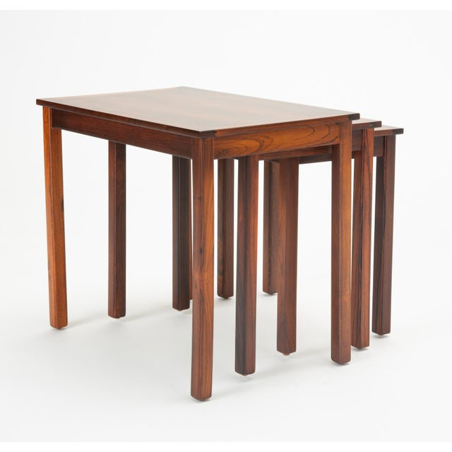 Rosewood Danish Modern Rosewood Nesting Tables - Set of 3 For Sale - Image 7 of 12