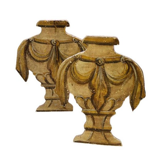 Linen Antique Standing Wood Urns - a Pair For Sale - Image 8 of 8