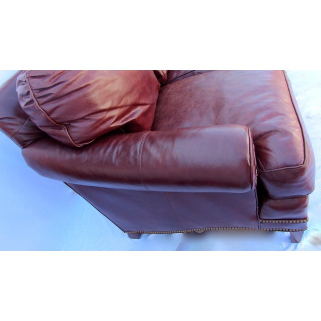 Traditional Pearson Chestnut Leather Sofa with Brass Nailhead Trim For Sale - Image 3 of 8