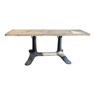 Industrial Wood Top Dining Table For Sale