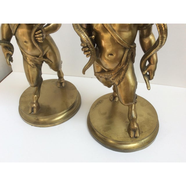Gold Bronze Figure Candle Holders - A Pair For Sale - Image 8 of 11