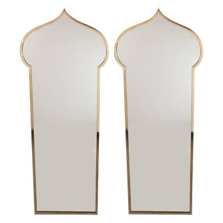 Pair of Italian Mid-Century Modern Brass Mirrors with Bell Shaped Cupola Motif For Sale