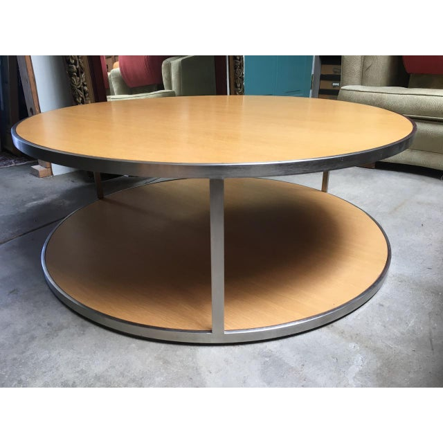 Circular Modern Stainless Steel and Oak Coffee Table For Sale - Image 11 of 11