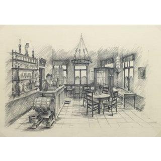 Belgian Pencil Sketch - Café For Sale
