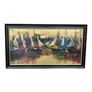 Mid 20th Century Modernist Nautical Harbor Scene Oil Painting, Framed For Sale