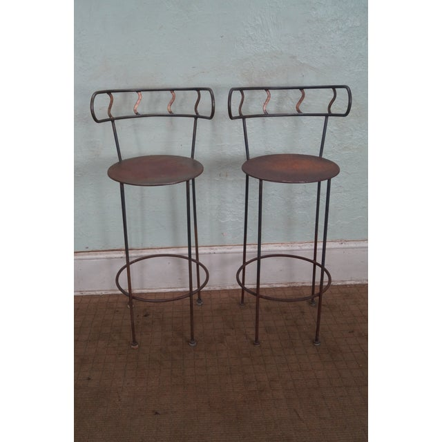 Vintage pair of distressed Industrial metal bar stools. AGE/COUNTRY OF ORIGIN: Approx 35 years, America...