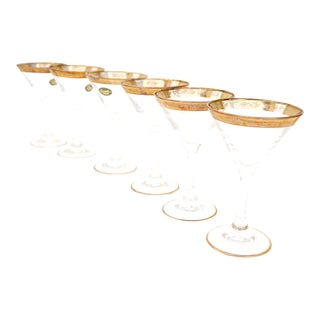 Vintage Italian Hollywood Regency 22KT Gold Rim Martini Glasses - Set of 6