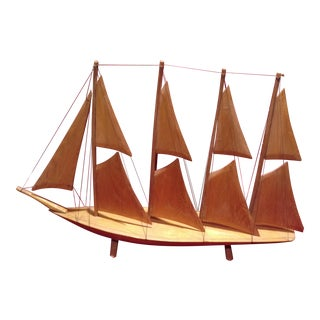 1960s Hand Carved Wooden Sailing Ship