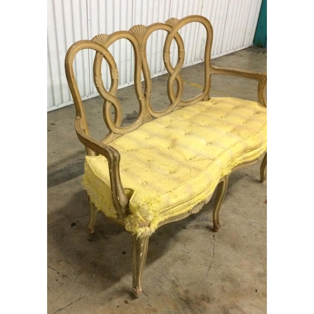 Well made Vintage loop back bench. Lots of style in this solid wood frame bench. Frame is tight and solid needs to be...