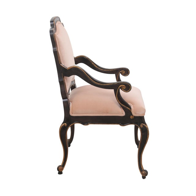 Late 20th Century Late 20th Century Blush Velvet Louis XV Style Fauteuils- A Pair For Sale - Image 5 of 9