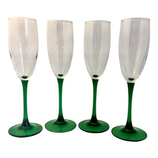 Kelly Green French Champagne Flutes - Set of 4 For Sale