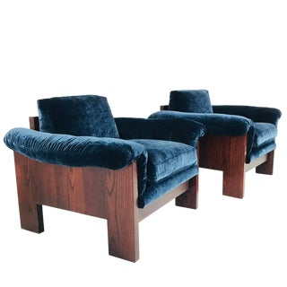 Pair of Milo Baughman Rosewood Lounge Chairs in Velvet For Sale