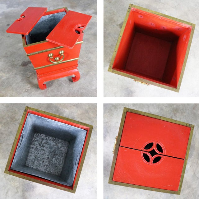 Chinese Red Lacquer and Brass Accent Table Removable Ice Chest Style on Hoof Foot Base For Sale - Image 12 of 13
