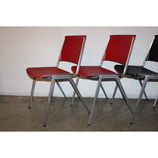 1960s Mid Century Modern Steelcase Stackable Plastic Backed Chairs - Set of 4 For Sale - Image 9 of 11