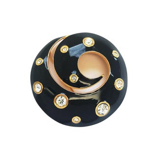 Black Enamel Swirl Brooch With Encrusted Crystals by Dior For Sale