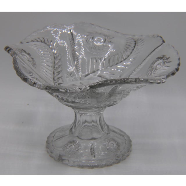 French Mid-Century French Crystal Cut Glass Compote For Sale - Image 3 of 13