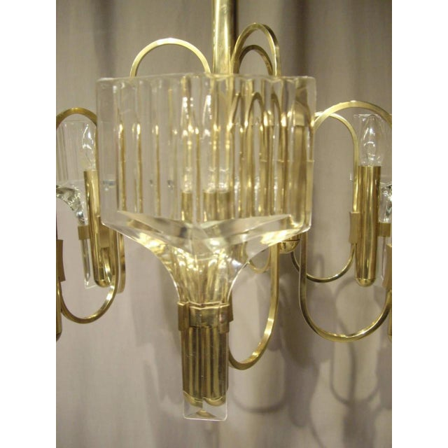 1960s Vintage Six-Light Glass and Brass Chandelier US Wired For Sale - Image 4 of 8