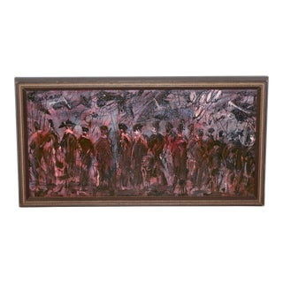 """Pascal Cucaro """"The Procession"""" Original Oil Painting C.1970 For Sale"""