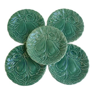 French Green Majolica Pottery Dessert Plates - Set of 5 For Sale