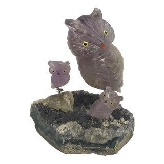 Vintage Amethyst, Quartz & Crystal Owls - Set of 4