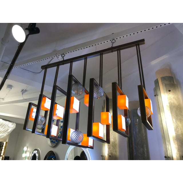 Minimalist Bronze Brass Cubic Chandelier With Orange & White Murano Glass Cubes For Sale - Image 9 of 11