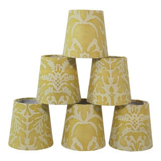 Yellow Fortuny Chandelier Shades - Set of 6