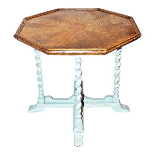 1900s Arts and Crafts Oak Octagonal End Table For Sale