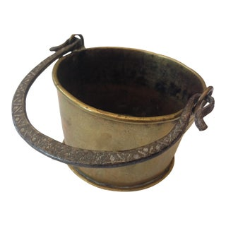 1910s Antique Brass Container With Handle For Sale