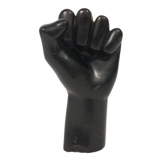 Vintage 1960s Resin Black Fist Sculpture For Sale