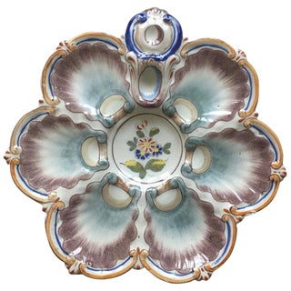 1890s French Faience Oyster Plate Saint Clement For Sale