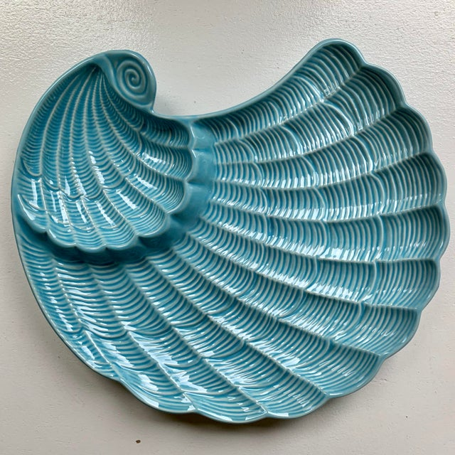 Modern Vintage Sadek by Andrea Blue & Antique White Ceramic Oyster Shell Serving Platter For Sale - Image 9 of 9