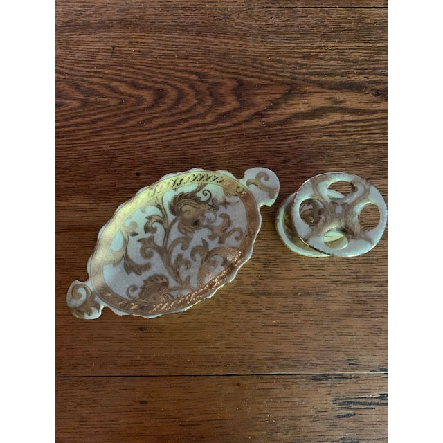 Vintage ceramic toothbrush and soap dish holder-looks like 90's Versace inspired. Gold swirls and an antique white crackle...