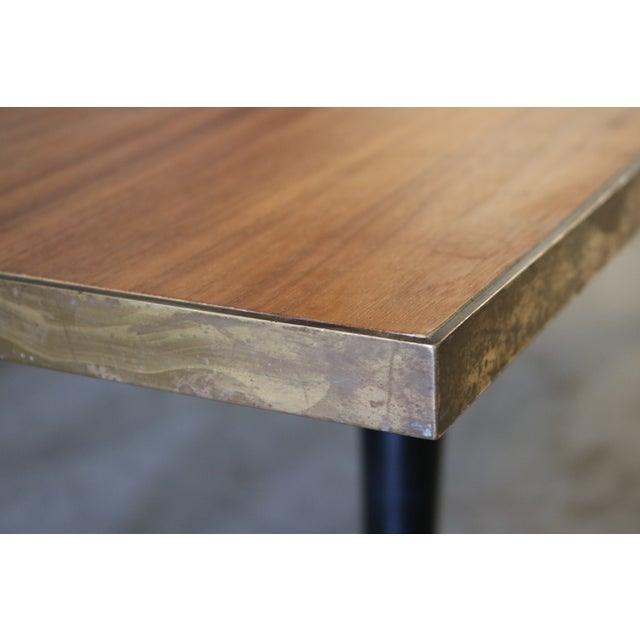 Mid Century Wood and Brass Cocktail Coffee Table - Image 5 of 6