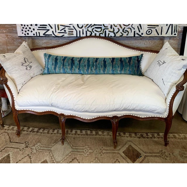 Blue Sora Velvet Lumbar Pillow With Ivory Silk Back For Sale - Image 8 of 10