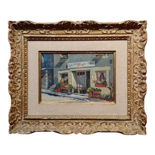 """Antoon Heinsberg """"Cafe De La Grappe D' or"""" Oil Painting, Paris 1952 For Sale"""